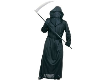 HALLOWEEN Vuxen BLACK MESH FACE ROBE Spöke Ghost