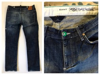 Gant Chip fri frakt Rugger blå jeansnarrow fit low byxa byxor denim  W 33 L 34