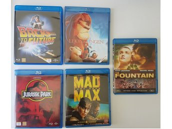 Bluray paket: back to the future trilogy - jurassic park - mad max  med fler