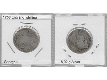 ENGLAND SHILLING 1758 , GEORGE II  SILVER 6,02g