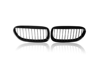 One Pair Car Gloss Black Front Grilles R&L For BMW E63/E6...
