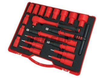 Insulated VDE Expert Socket Ratchet Tool Set - 20pc 1/2in Drive 1000 Volts rated - Sheffield - Insulated VDE Expert Socket Ratchet Tool Set - 20pc 1/2in Drive 1000 Volts rated - Sheffield