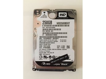 Hårddisk Western Digital 250Gb SATA 2,5""