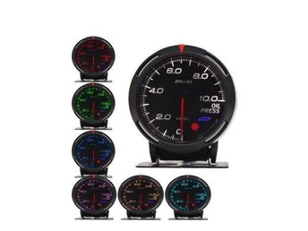 OIL PRESSURE METER GAUGE LED 7 COLOURS 12V 60mm