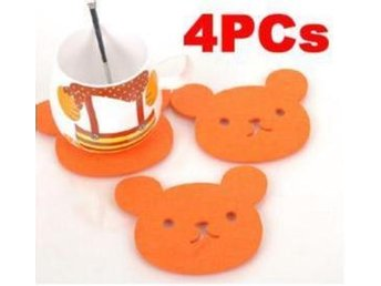 "4Pcs! NY! Koreannska ""Cute Bear"" Glas drink underlägg"