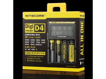 Nitecore Digicharger D4 Digital Laddare - Fri Frakt