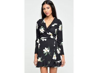 Omlottklänning zack london wrap frill dress blommig klänning Ny med tags asos