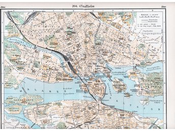 Stockholm 1934 orig. city map 24x30 cm + lexicon text tysk - Riddarholmen Staden