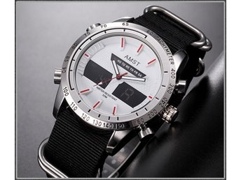 "AMST Wrangler Watch Silver/white/red ""Canvas"""