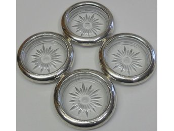 Underlägg/Coasters i glas med fälg i sterlingsilver - Frank M. Whiting & Co