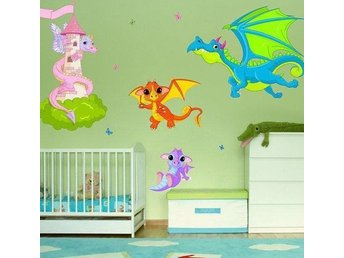 Wall sticker - Dragons (3004f) (väggdekor drakar)
