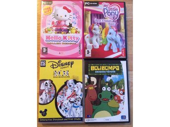 4 st PC-spel hello Kitty, my little pony, Bolibompa, 101 dalmatiner