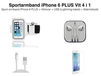 Sportarmband iPhone 6S PLUS/6 PLUS Vit 4 i 1 paket