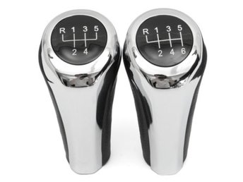 5 6 Speed Leather Chrome Aluminum Manual Gear Shift Knob ...