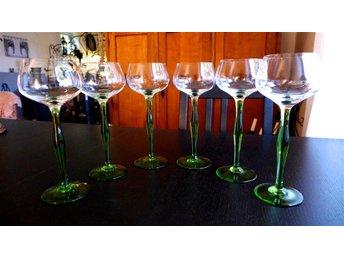 6 st vackra remmare/vitvinsglas från KOSTA, trol. mitten 1900-tal - Gråbo - 6 st vackra remmare/vitvinsglas från KOSTA, trol. mitten 1900-tal - Gråbo