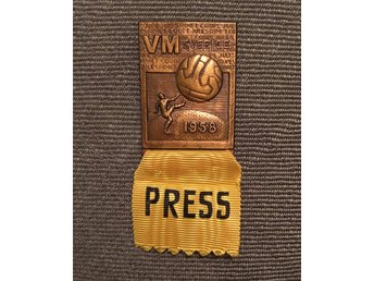Press badge märke Fotboll VM 1958