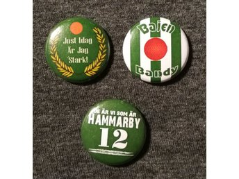 3 st, Hammarby, Bajen, Bandy, pin/badge 25mm