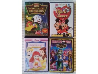 4 barn DVD - Disney, Monster High, Den modiga lilla brödrosten, Musse, Prinsessa
