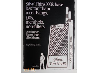 SILVA THINS CIGARETTES TIDNINGSANNONS Retro 1972