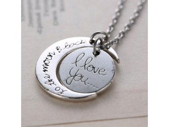 Halsband Måne med Text - I Love You Silver