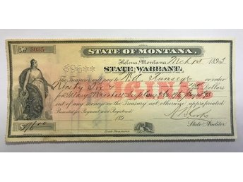 USA / MONTANA - State warrent 96 dollar 1893