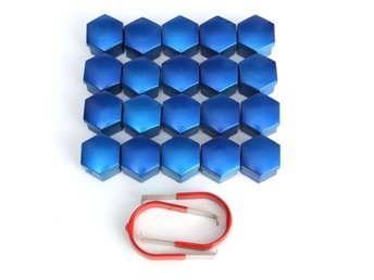 17mm Car Alloy Wheel Trims Nut ABS Plastic Blue Caps Bolt...