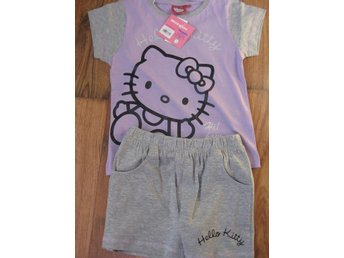 T-Shirt Tröja Barn - Hello Kitty Pyjamas T-shirt + Shorts Lila Grå 7-8  år TH