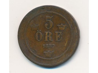 Oskar II • 5 öre 1882 på 1872 • XR - Bromma - Oskar II • 5 öre 1882 på 1872 • XR - Bromma