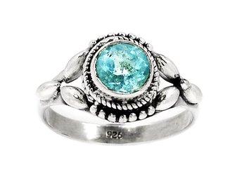 17 Äkta silver stämplad 925 ring silverring ljusblå sten kvarts - Stockholm - 17 Äkta silver stämplad 925 ring silverring ljusblå sten kvarts - Stockholm