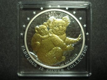 AUSTRALIA 1 DOLLAR 2008 KOALA AND BABY ON BRANCH ONE OZ 999 SILVER, GILT KOALAS