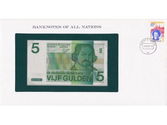 Franklin Mint Banknotes of All Nations + stamp: Netherlands 5 gulden P-95 UNC