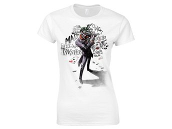 BATMAN - JOKER WORDS  GIRLIE T-SHIRT WHITE - XL