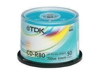 TDK CD-R80 700MB 52X 50-PACK SPINDEL 2st (100skivor)