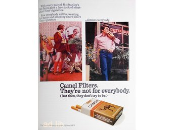 CAMEL FILTERS - THEY'RE NOT FOR EVERYBODY, TIDNINGSANNONS Retro 1972