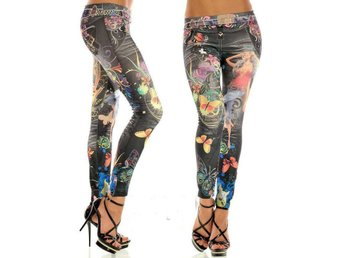 Leggings Tights Look Tattoo Svart Elastisk Rock Punk Goth S 34 36