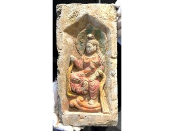 Ancient Chinese Northern Wei Temple Brick with Dancing Buddha - 328x157mm
