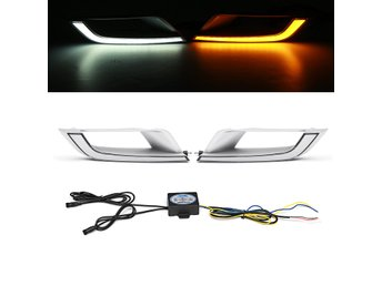 2Pcs LED DRL Daytime Running Lights Lamp Dual Color for F...