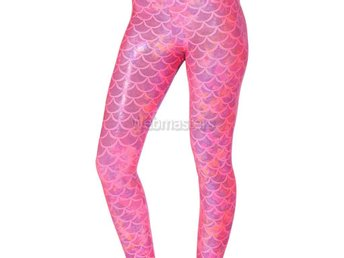 Leggings Rosa Mermaid Scales Medium Strumpor Tights Strumpbyxor Aquaman Pink