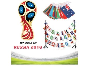 UK 2018 FIFA World Cup Russia All 32 Teams Flags Bunting Football Soccer Banner