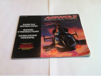 NES: Manualer: Airwolf (End. manual - Engelsk)