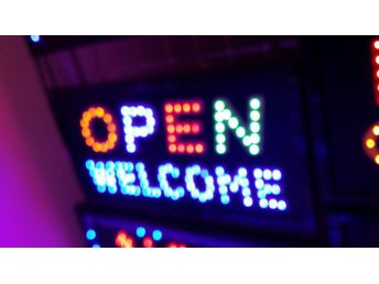 OPEN WELCOME LED-skylta 45x26 cm