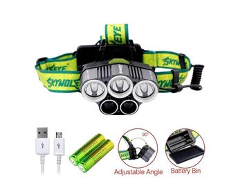 6000LM 5X XM-L T6 LED USB Headlamp Rechargeable Battery Cycling Torch
