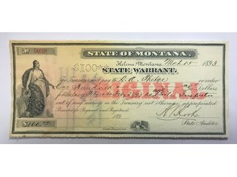 USA / MONTANA - State warrent 100 dollar 1893