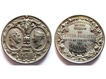 ** Commemorative of the Visit of Louis Philippe to Victoria 1844 Lättmetall **