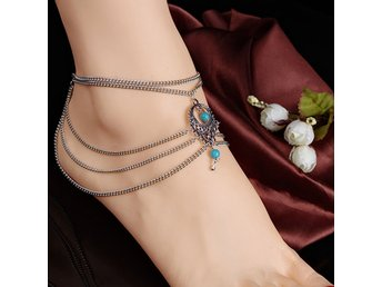 Multilayer Silver Turquoise Ankle Chain Anklet Sandal Beach Barefoot Bracelet