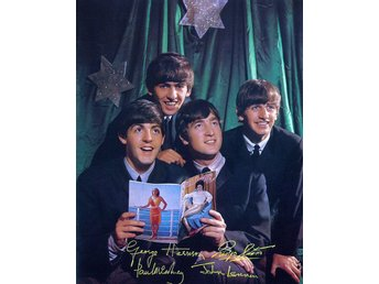THE BEATLES PRE-PRINTED AUTOGRAF PHOTOGRAPH FOTO