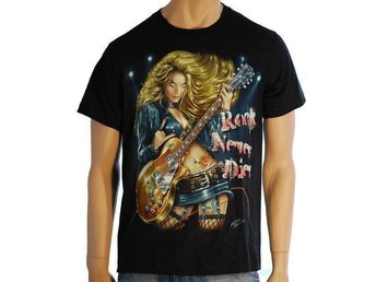 T-shirt Rock Never Dies Storlek XL (Fabriksny)