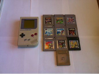 GB: Nintendo Gameboy/Game Boy Original, Vit med 10 spel