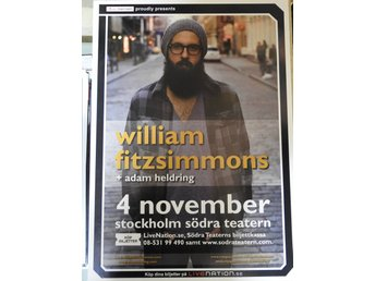 Poster William Fitzsimmons Södra Teatern i toppskick