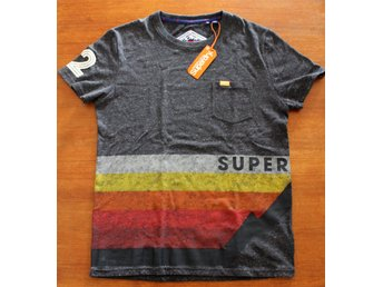 "NY MED LAPP SUPERDRY T-SHIRT, Stl. LARGE, MÖRKGRÅ, ""BIG MOUNTAIN LINE"" TEE"